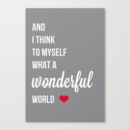 Wonderful world typogrphy Canvas Print
