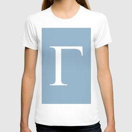 Greek letter Gamma sign on placid blue background T-shirt
