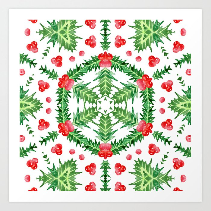 Holly Jolly Christmas.Holly Jolly Christmas Wreath Mandala Large Pattern Art Print By Fickleandfine