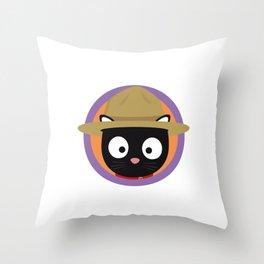 Park ranger cat in purple circle Throw Pillow