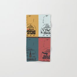 Four Hitchcock movie poster in one (Psycho, The Birds, North by Northwest, Notorious), cinema, cool Hand & Bath Towel