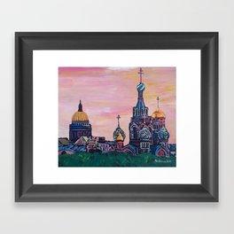 Saint Petersburg with golden couples Framed Art Print