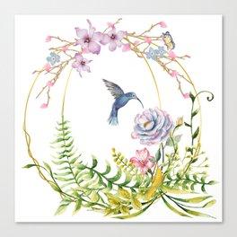 Glittering Golden Floral Hummingbird Terrarium Canvas Print