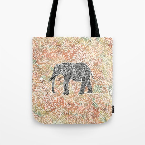 Tribal Paisley Elephant Colorful Henna Floral Pattern Tote Bag