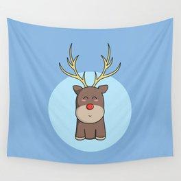 Cute Kawaii Christmas Reindeer Wall Tapestry