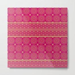 African Ethnic Tribal Hot Pink Pattern Metal Print