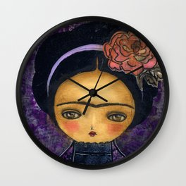 Frida In A Violet And Purple Dress Wall Clock