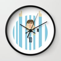 messi Wall Clocks featuring Lionel Messi Argentina Illustration  by Gary  Ralphs Illustrations