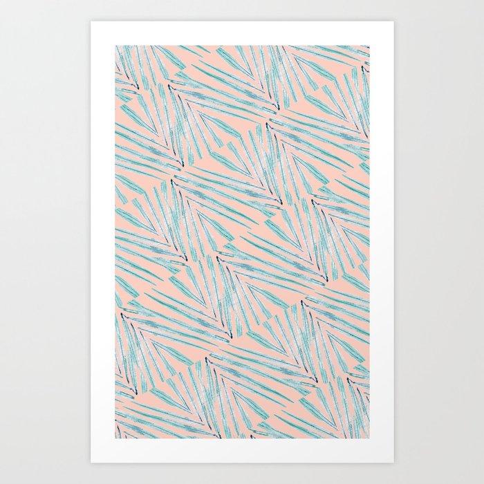 Palm Leaves Coral Art Print