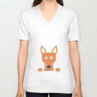 pocket V-neck T-shirts featuring Pocket Kangaroo by filiskun
