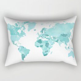 Distressed world map in aquamarine and teal Rectangular Pillow