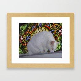 Mr. Snow Loves Stained Glass Framed Art Print