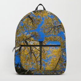 Yellow trees and blue sky in autumn Backpack