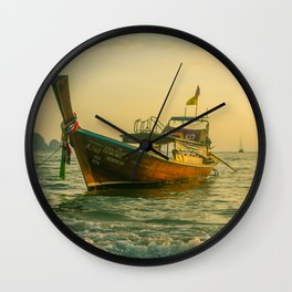 Fishing Boat Sailing in the Frothy Ocean Waters. Travel Photography. Wall Clock