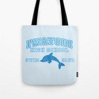 iwatobi Tote Bags featuring Iwatobi - Dolphin by drawn4fans