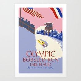 Lake Placid Olympic bobsled run Art Print