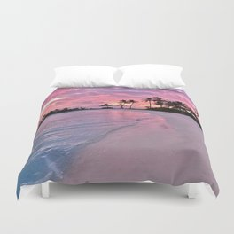 SUNSET AND PALM TREES Duvet Cover