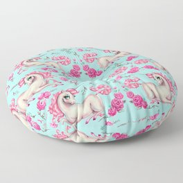 Unicorns and Roses on Mint Floor Pillow