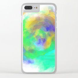 splash painting texture abstract in green blue yellow Clear iPhone Case
