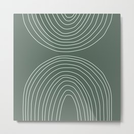 Handdrawn Geometric Lines in Forest Green Metal Print
