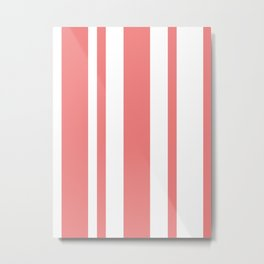 Mixed Vertical Stripes - White and Coral Pink Metal Print