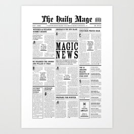 The Daily Mage Fantasy Newspaper Art Print