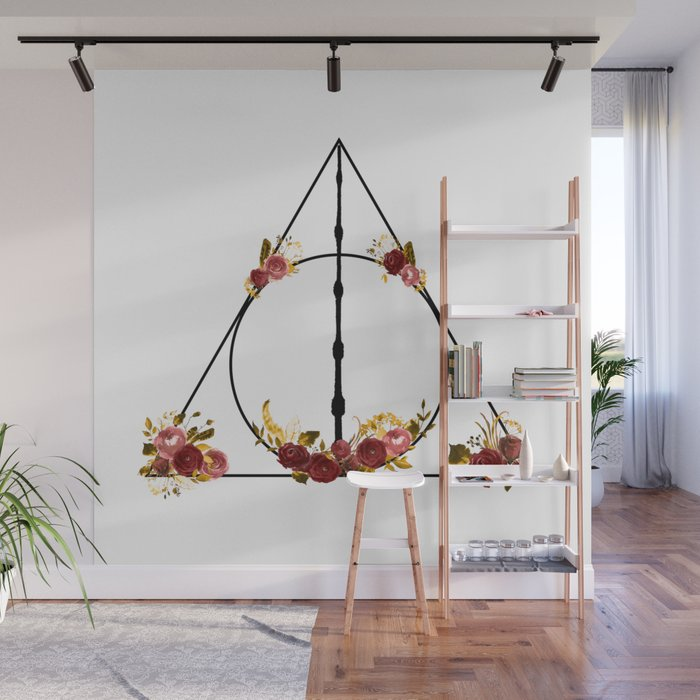 Deathly Hallows in Red and Gold Wall Mural