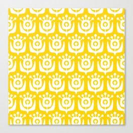 Retro Flower Pattern Yellow Canvas Print