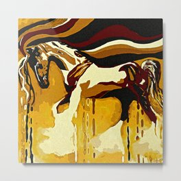 Horse Flying Free Brown Metal Print