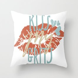 Funny Southern Sayings Expressions and Slang Kiss My Grits Throw Pillow