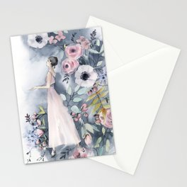 Ballerina and flowers n.3 Stationery Cards