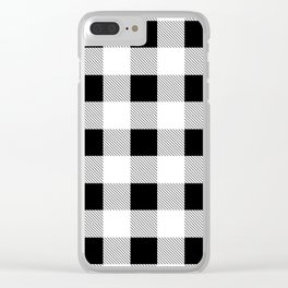 western country french farmhouse black and white plaid tartan gingham print Clear iPhone Case