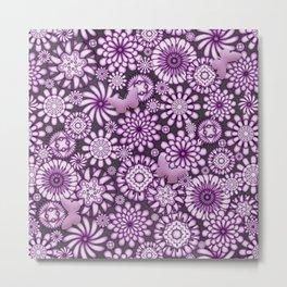 Ceramic Flowers & Butterflies (Acai) Metal Print