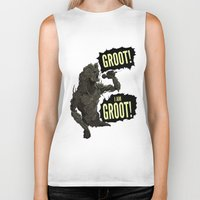 groot Biker Tanks featuring Groot! I am Groot! by mstfaCmly