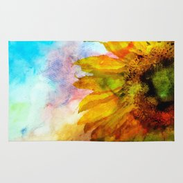 Sunflower on colorful watercolor background - Flowers Rug