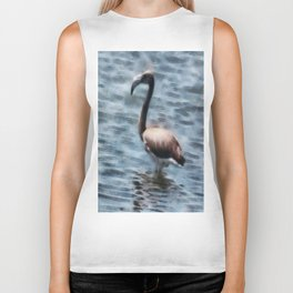 Flamingo Fledgling Watercolor Biker Tank