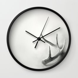 Lost and Found - Deer Antler Pencil Drawing Wall Clock
