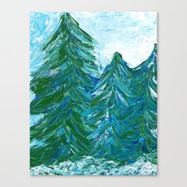 Snowy Evergreen Trees | Painting Canvas Print