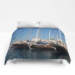 Traditional Turkish Gulets In Marmaris Harbour Comforters