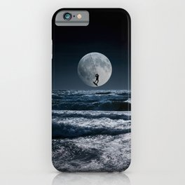 Kitesurfer in the moon in blue night sky horizon iPhone Case