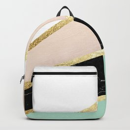 Mint, Blush, White, Black Marble and Gold Stripes Glam #1 #minimal #decor #art #society6 Backpack