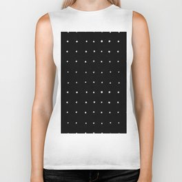 Dot Grid White on Black Biker Tank