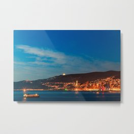 Colorful sunset in front of the city of Trieste Metal Print