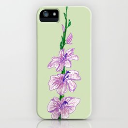 Gladiola on Pale Green Background iPhone Case