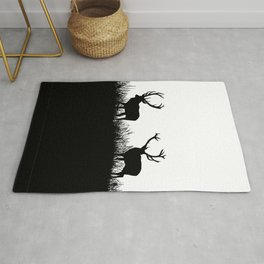 Black And White Deer Silhouette Rug