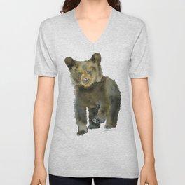 Black Bear Cub Watercolor Unisex V-Neck