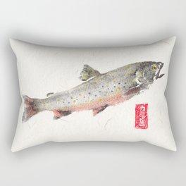 Brook Trout in Spawning colors-Gyotaku Rectangular Pillow