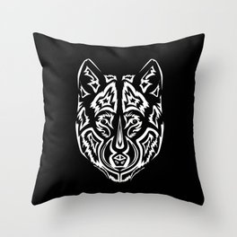 Dire Wolf - White Throw Pillow