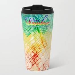 Rainbow typograph with Cracked out Glass iPhone, ipod, ipad, pillow case and tshirt Travel Mug