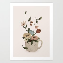 Coffee with Flowers Art Print